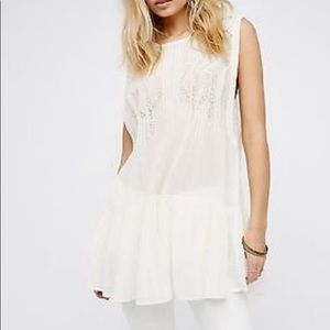 Free People Ivory Imaginary Friend Tunic Top